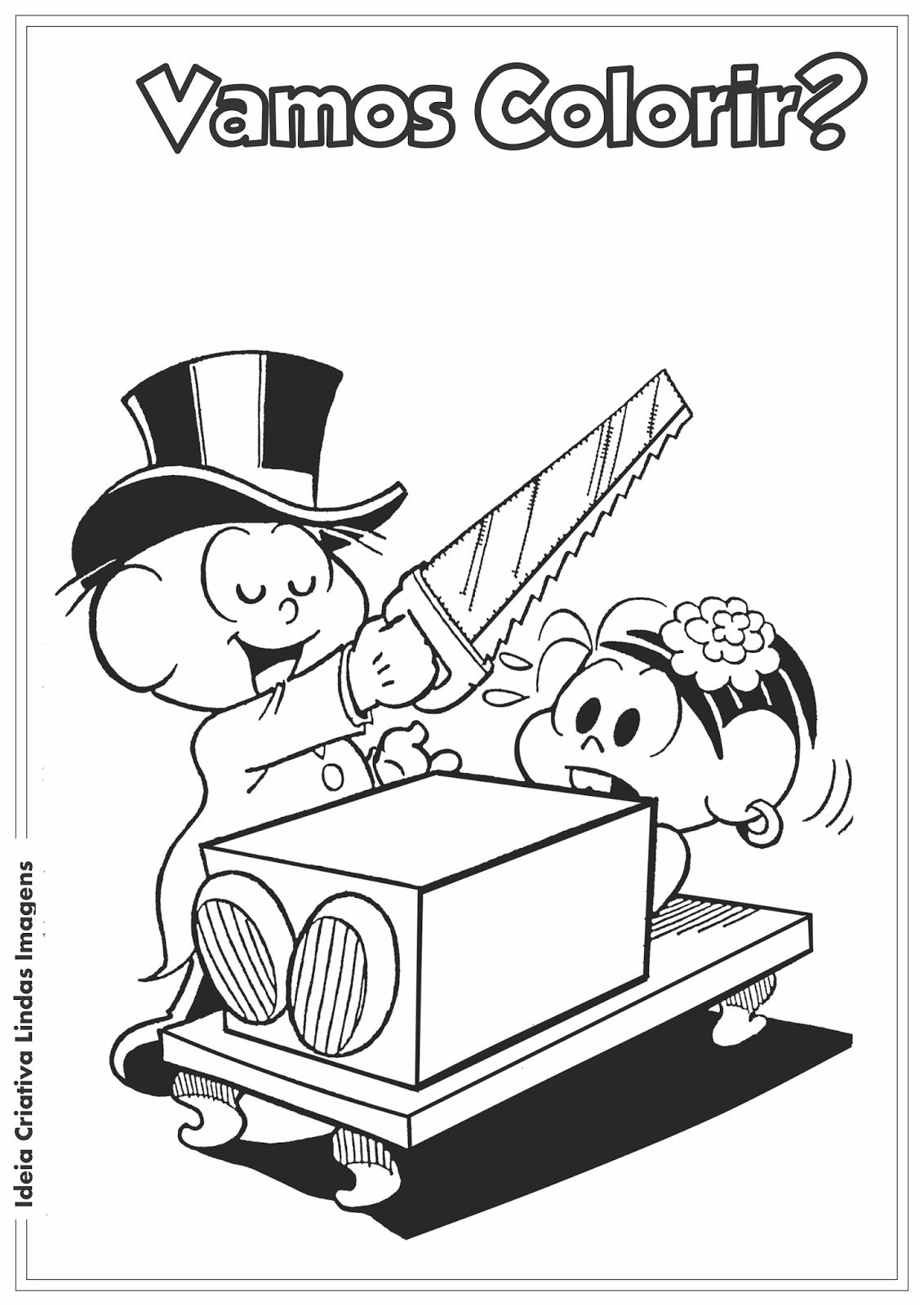 Turma da Mônica - Dia do Circo - Cebolinha e Mônica desenho para colorir