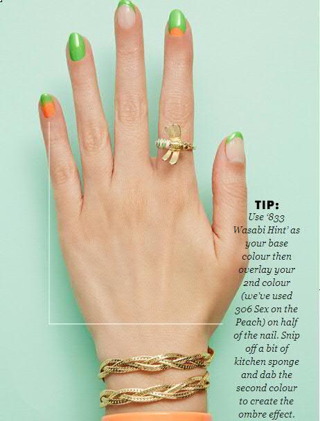Nail Art With Green and Orange Nail Paint Shades