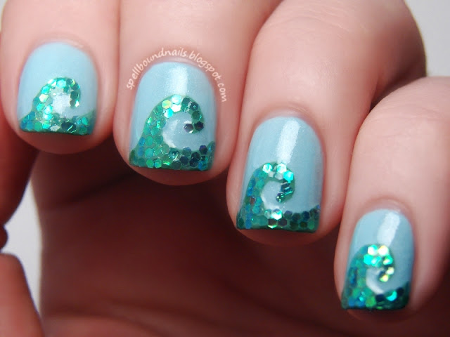 Time Periods Ancient Greece Greek wave ocean Poseidon Spellbound Nails nail art challenge mani manicure polish sea god mosaic sequins glequins blue Sephora by OPI Read My Palm Revlon Waterfall