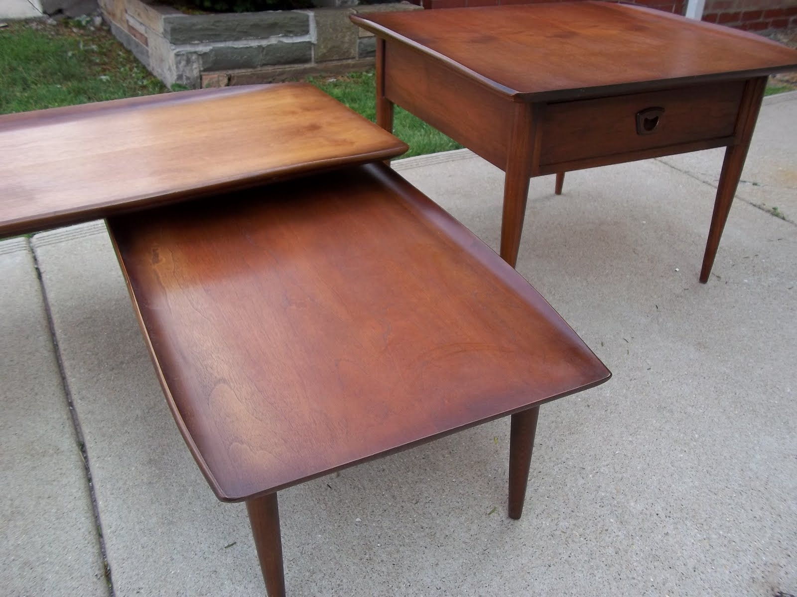 Mid Century Bassett Solid Walnut 2 Tiered Coffee Table with