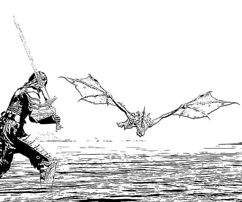 Printable Elder Scrolls Skyrim5 Dragon Slayer Coloring Pages