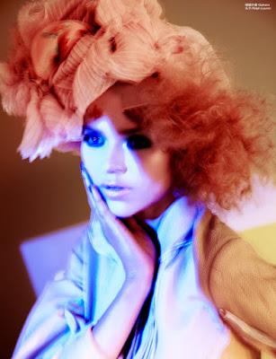 pink and purple hair pastel, femina magazine china, blurry fashion photography,