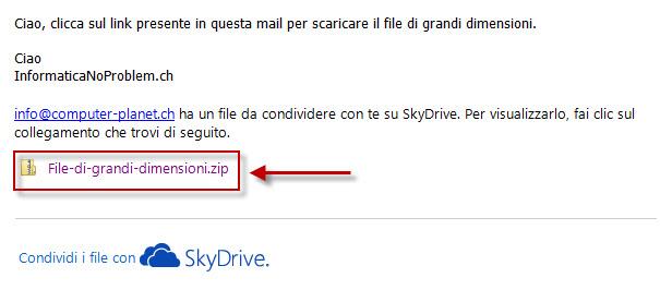E-mail di Sky Drive con il collegamento al file