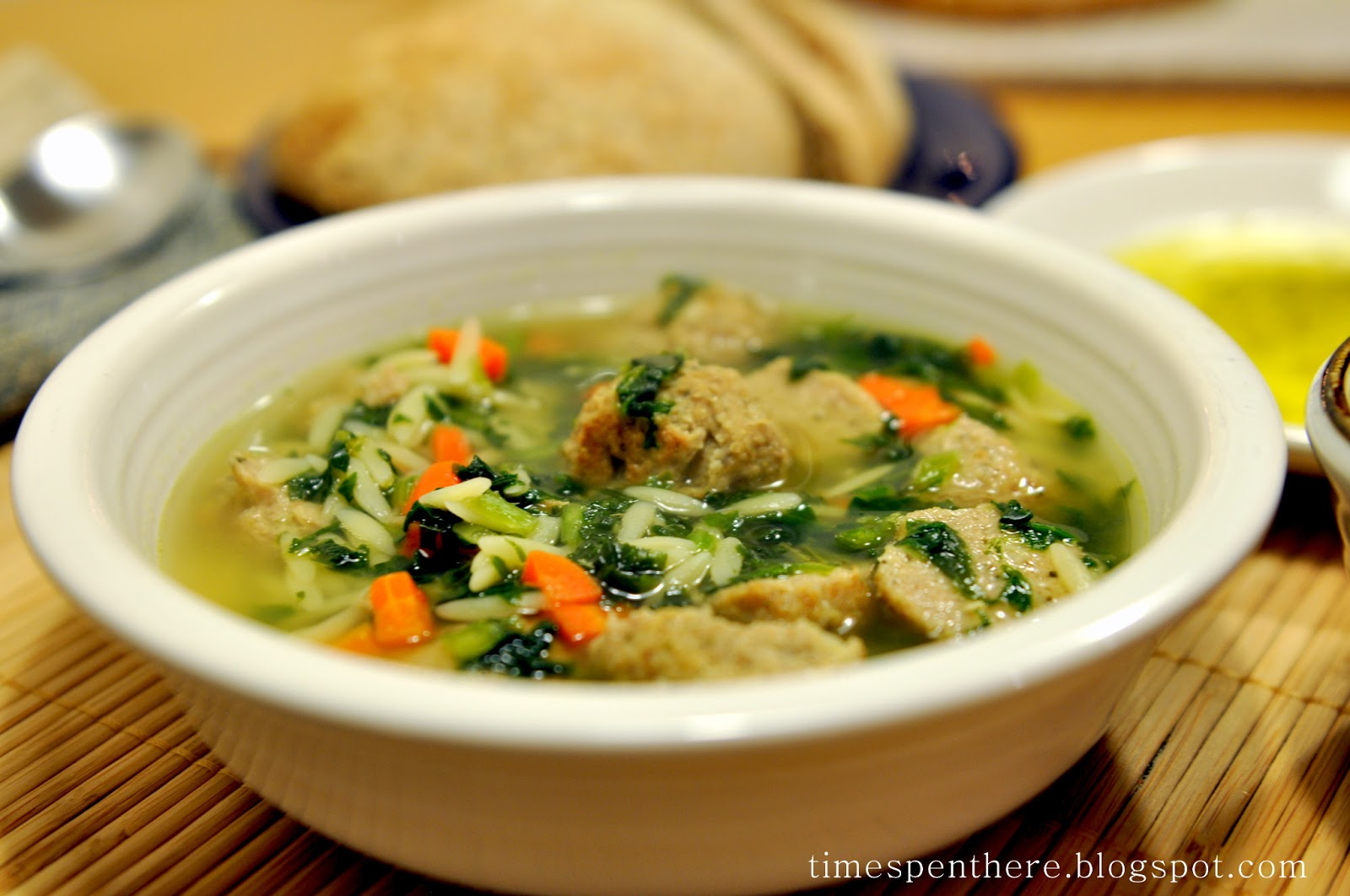 Time Spent Here: Italian Wedding Soup with Turkey Meatballs