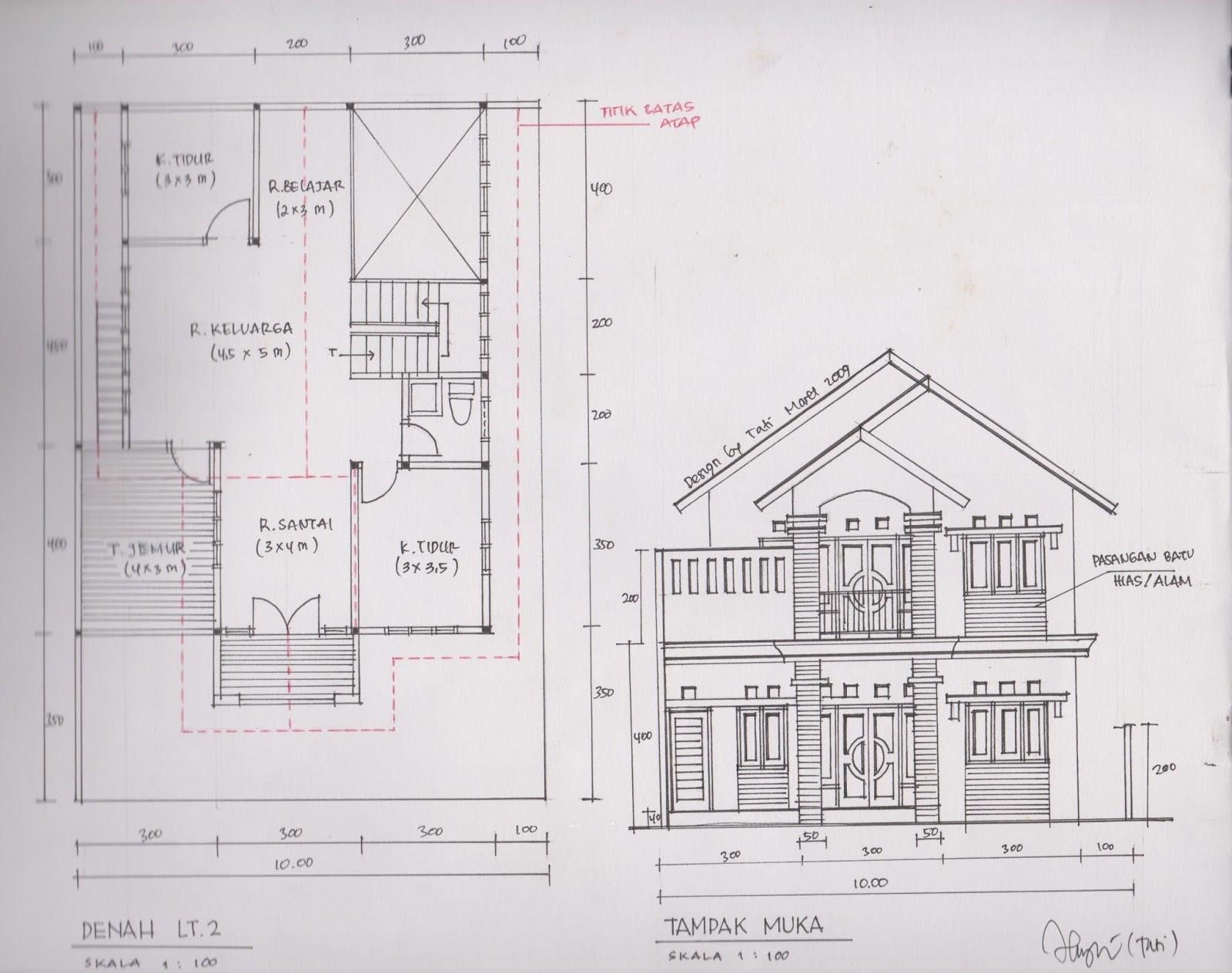 Potongan menggambarkan bangunan terpotong agar terlihat bagian dalam / seolah2 kita membelah bangunan dari atas ke bawah secara melebar dan ...