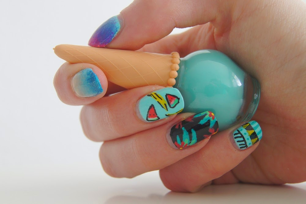 nail art été tropical plage fruits