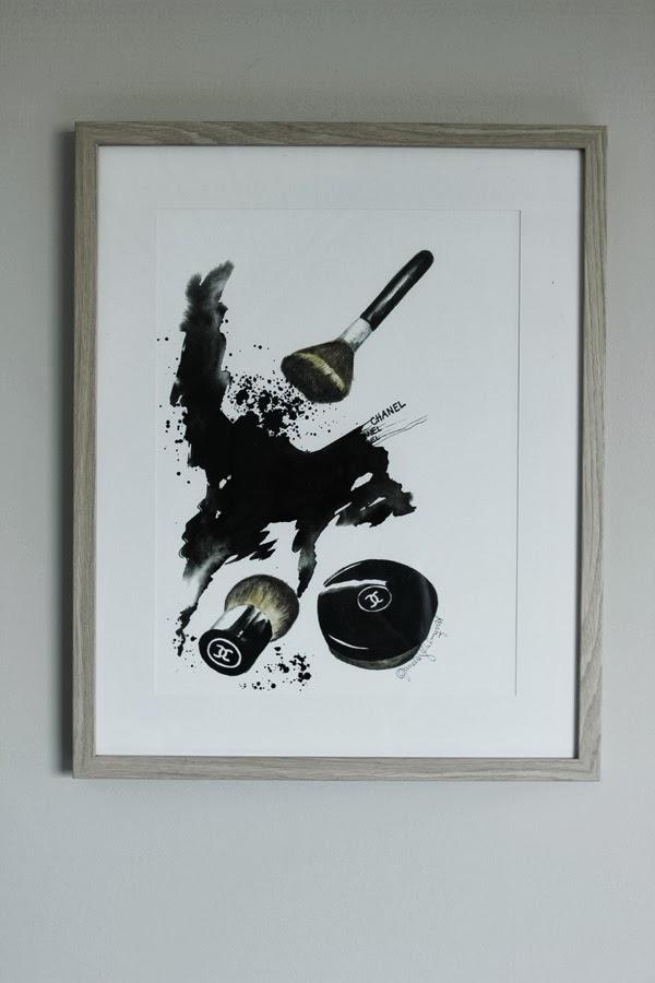 ljust trä på ram, trären ram, ram för A3, ikea, ramar från ikea, ribba ram, rama in tavlor, inredningstips, inreda med tavlor, prints, illustrationer, konsttryck, chanel, smink på tavla, puderborste, chanel powder, svart och vitt, design canvas varberg, annelie palmqvist, konsttryck by annelie