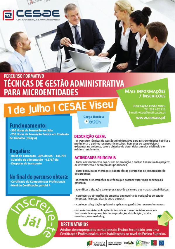 Curso remunerado em Viseu – Técnicas de Gestão Administrativa para Microentidades