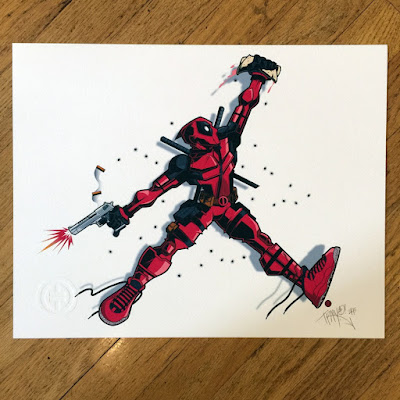 "Deadpool x Air Jordan ""Bullets Over Broadway"" Print by Tracy Tubera"