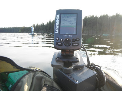 Lowrance Elite 4x with Float Tube Fanatics U2 Fish Finder Mount