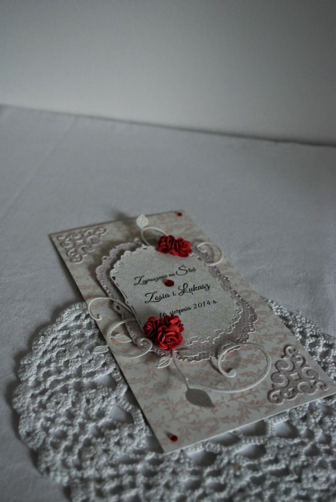 zaproszenia ślubne z czerwonym