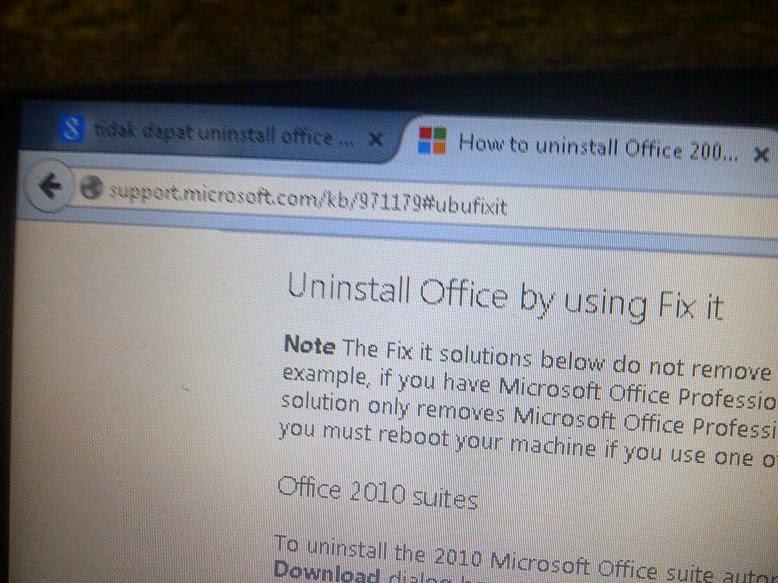 Cara Uninstall Office 2010 yang Error