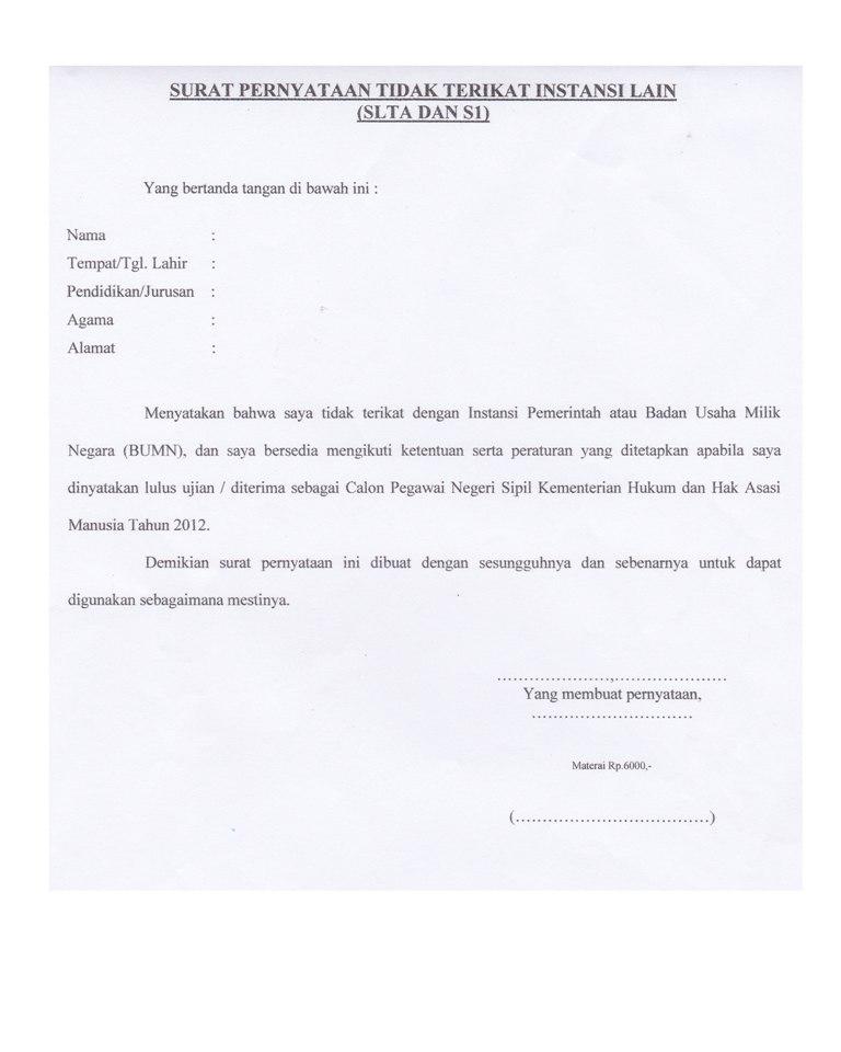 Contoh Surat Pernyataan Tidak Terikat Dengan Instansi Lain