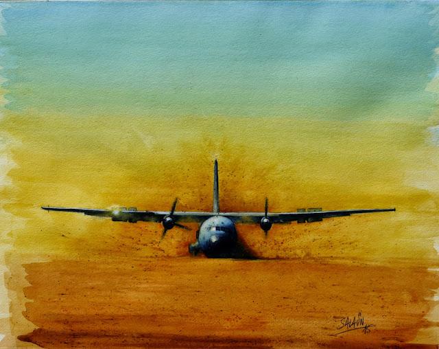 C160, transall, posé terrain sommaire, aquarelle, aviation