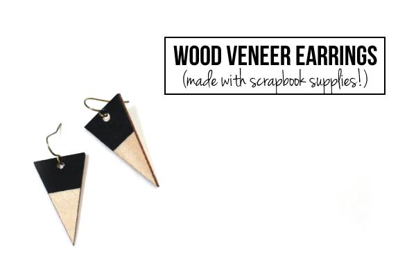 Lemon JittersDIY Wood Veneer Earrings (with scrapbook supplies!)