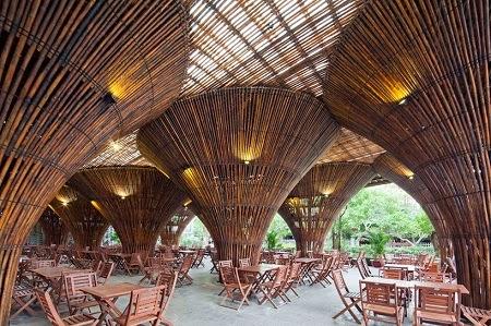 Cafe Construido con Bambu, Arquitectura Sostenible