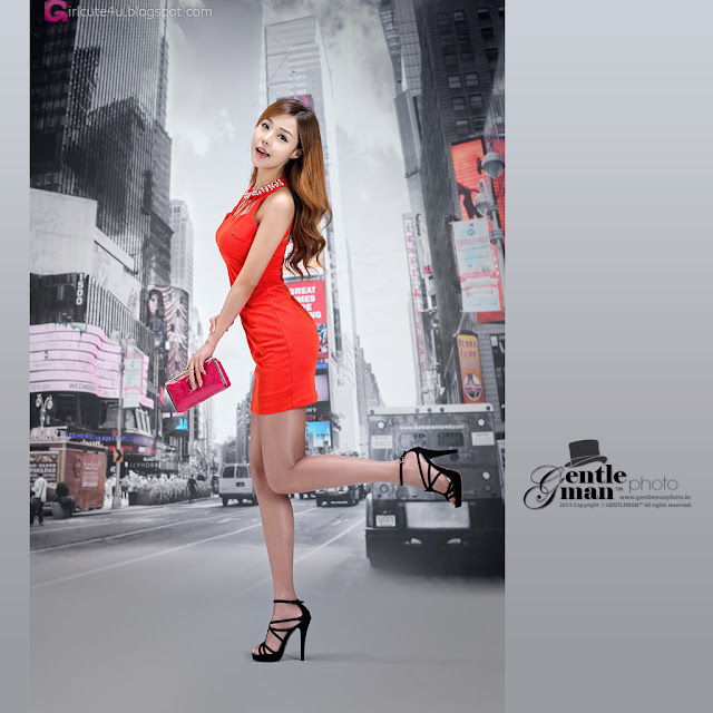 3 Seo Jin Ah in Orange Mini Dress -Very cute asian girl - girlcute4u.blogspot.com