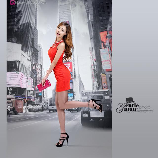 3 Seo Jin Ah in Orange Mini Dress -Very cute asian girl - girlcute4u.blogspot.com