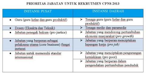 Penerimaan CPNS 2013 60.000 Jabatan ini Diprioritaskan