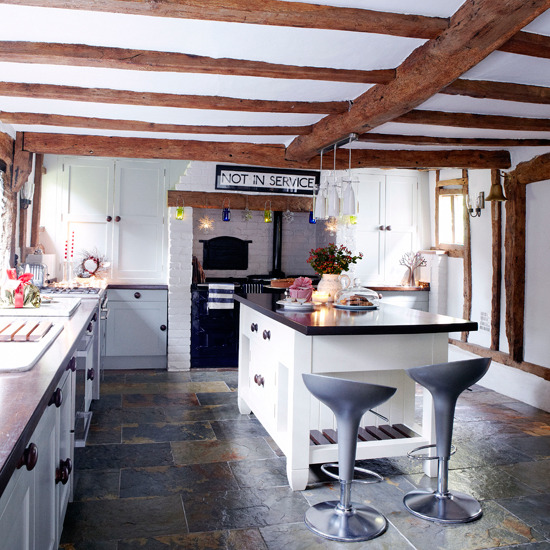 Sixpence blue moon dream kitchens for Country kitchen flooring