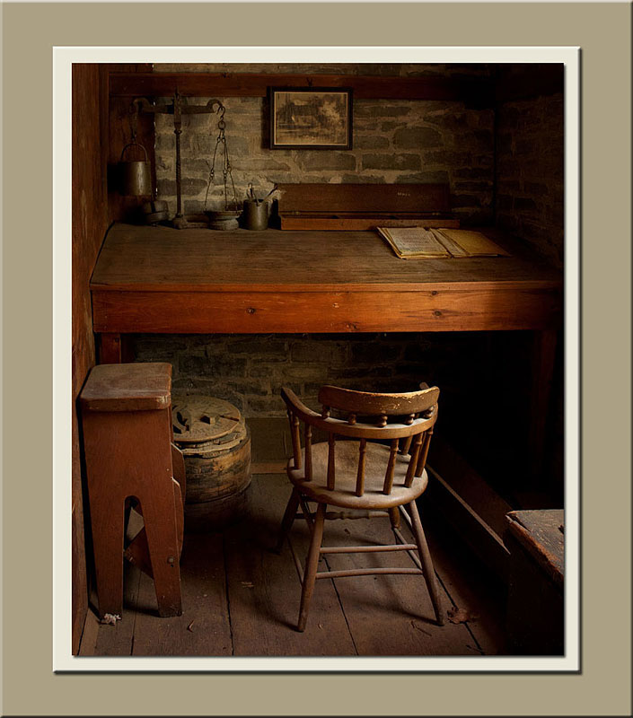 A small corner used as the mill office at Roblin's Mill at Black Creek Pioneer Village.  Holly Cawfield Photography