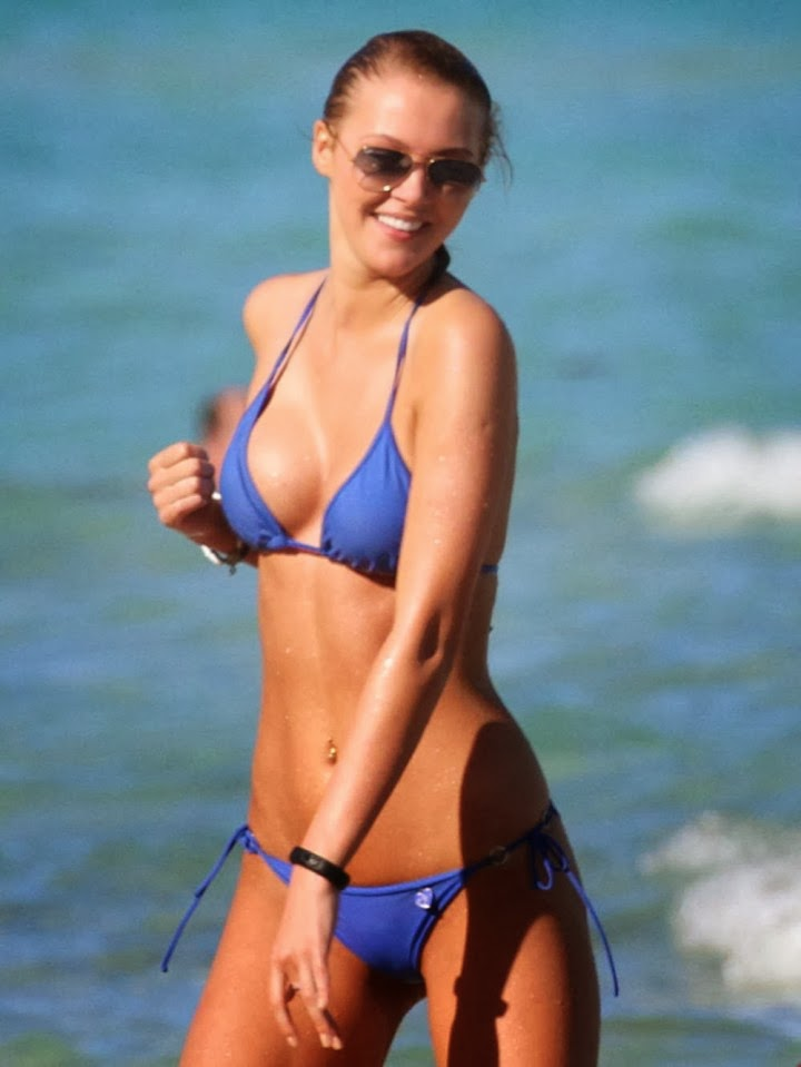 Deimante Guobyte sizzles into a Blue Bikini in Miami