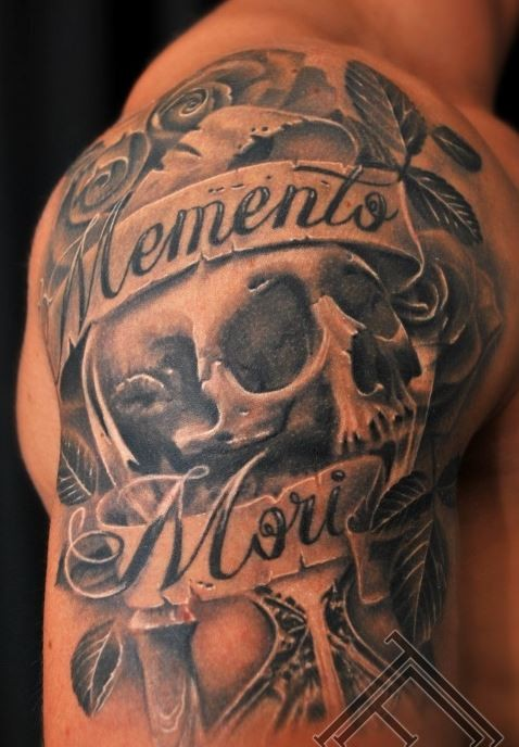 Mementomori with skull and roses tattoo on arm