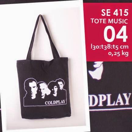 jual online tote bag kanvas murah tema musik logo grup band coldplay