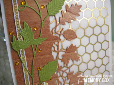NEW autumn leaves in wood veneer and parchment card detail