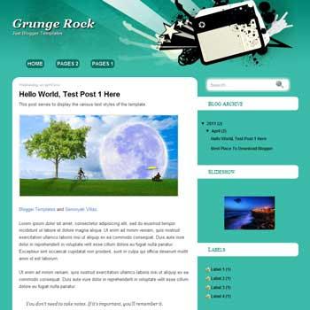 Grunge Rock Blogger Template. blogger template music template blog