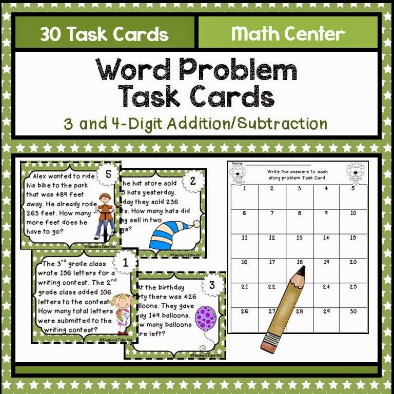 Word Problem Task Cards using 3&4 Digit Addition Subtraction