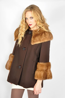 Vintage 1960's brown wool sing coat with honey mink colored collar and cuffs.