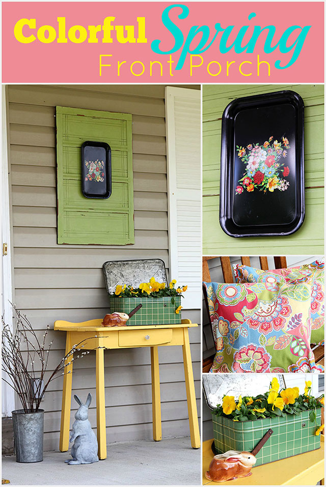 Colorful DIY porch decor for spring, with a eclectic vintage cottage theme!  After a long hard cold winter, you need a little bit of color in your life.