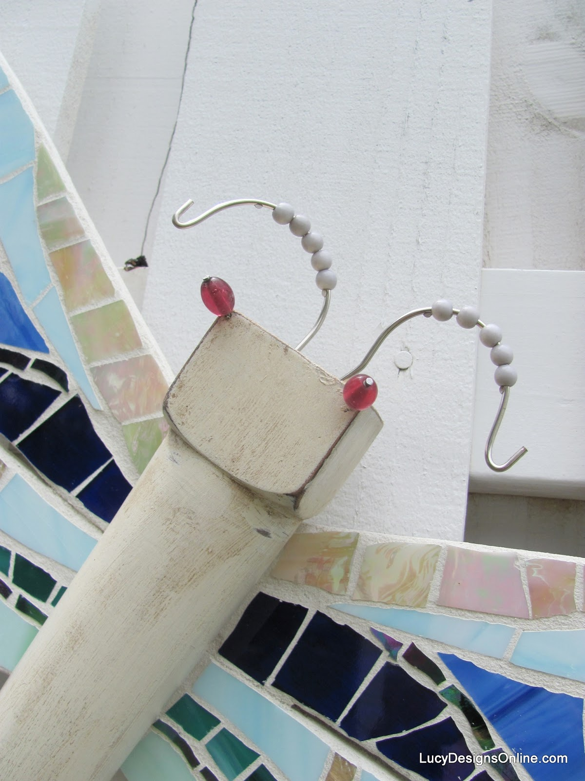 mosaic dragonfly with glass bead eyes