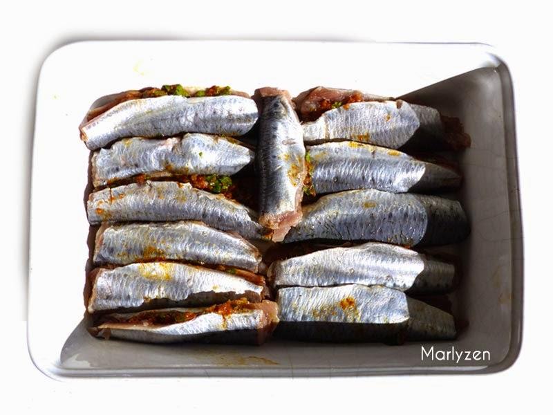 Sardines farcies à la chermoula avant cuisson