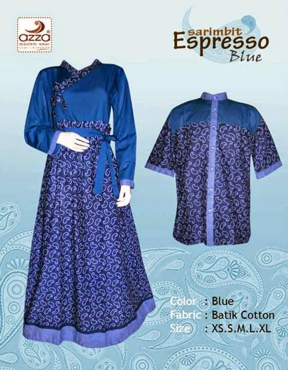 Gamis Batik Sarimbit Espresso Blue