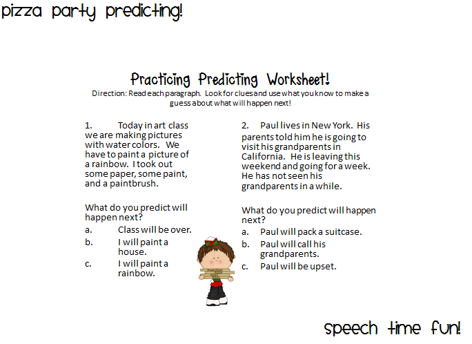 Pizza Predicting Party – Prediction Worksheets