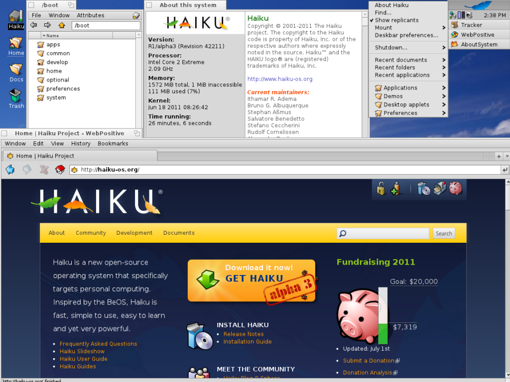 notice how haiku s ui is simple and elegant the user is as unfettered by constant mouseclicks and dialog boxes as possible