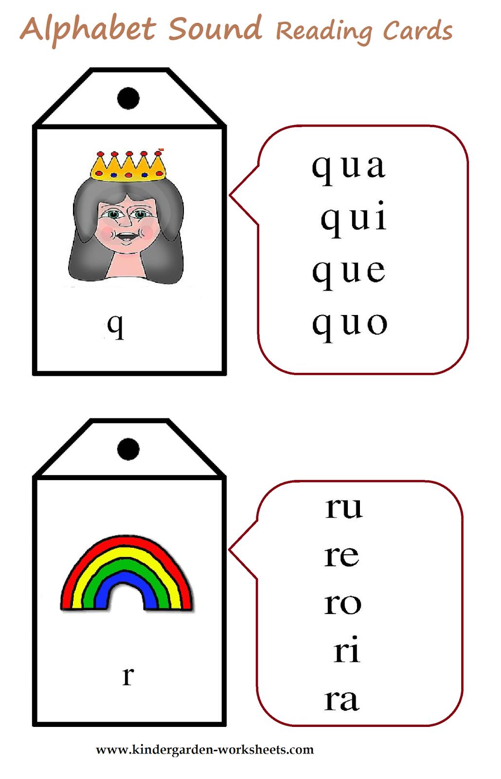 Kindergarten Worksheets: Alphabet Sound Read Cards