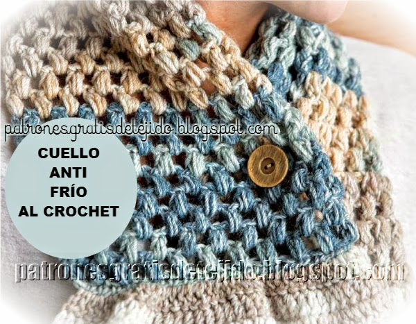 Cuello de abrigo con botón y volados al crochet