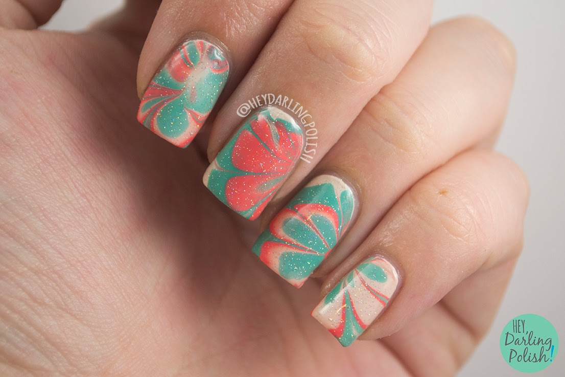 nails, nail art, nail polish, watermarble, tri polish challenge, hey darling polish