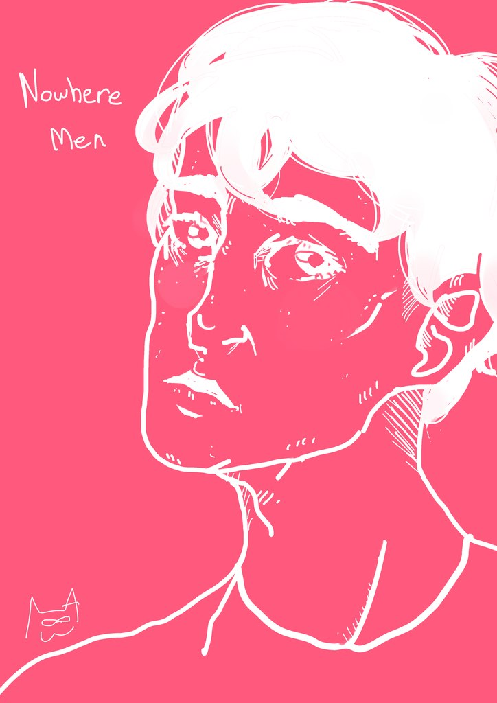dan abnormal nwm nowhere men fanart daniel pierce art drawing pink white limited palette