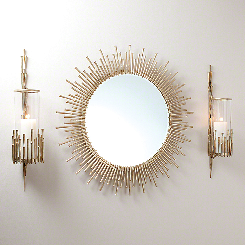 mirror and matching sconces