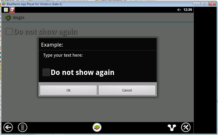 Make a don't show this message again on startup   Android