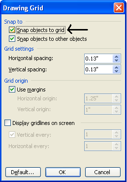 how to turn off snap to grid in ms word 2010