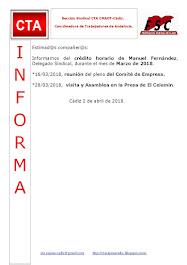 C.T.A. INFORMA CRÉDITO HORARIO MANUEL FERNANDEZ, MARZO 2018