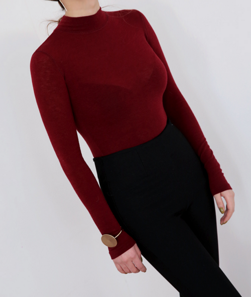 Slim Solid Tone Mock Neck Top