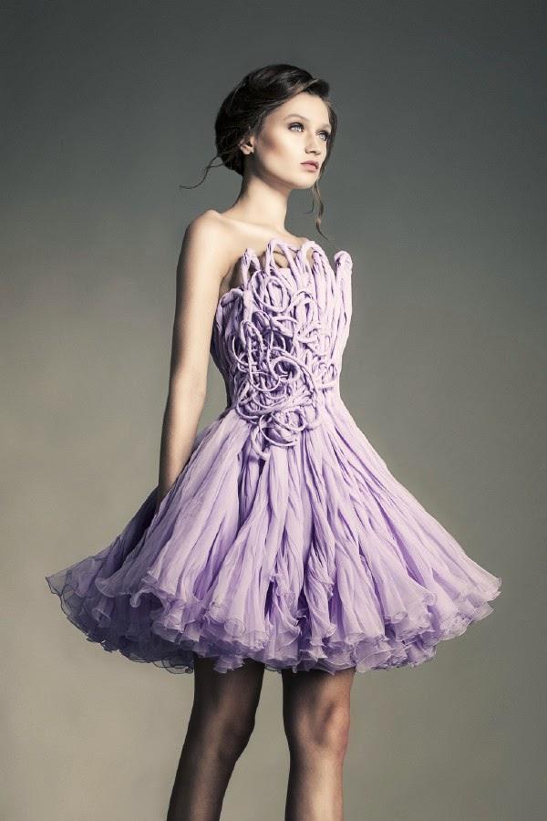 robe haute couture violet parme sculpté par jean louis sabaji . Haute couture libanaise , LEZEM ,défilé de mode caritatif