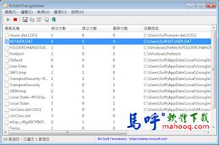 FolderChangesView Portable 免安裝版,資料夾監控軟體、硬碟監控程式下載,繁體中文版