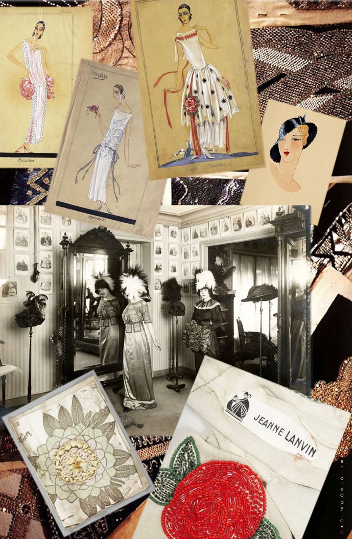 Lanvin boutique, sketches, embroidery, fabric swatches & label | via fashioned by love